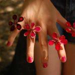 Kézműves gyűrűk piros színben
